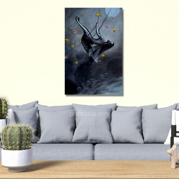 The Dream Flyer - Mixed media Charcoal, Oil & Acrylic on Canvas - 24x36 inch