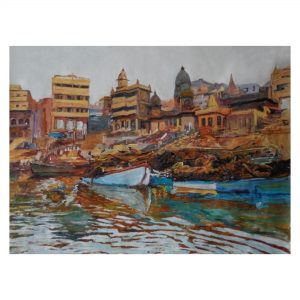 Manikarnika Ghat Banaras - 3x4 feet - Oil On Canvas
