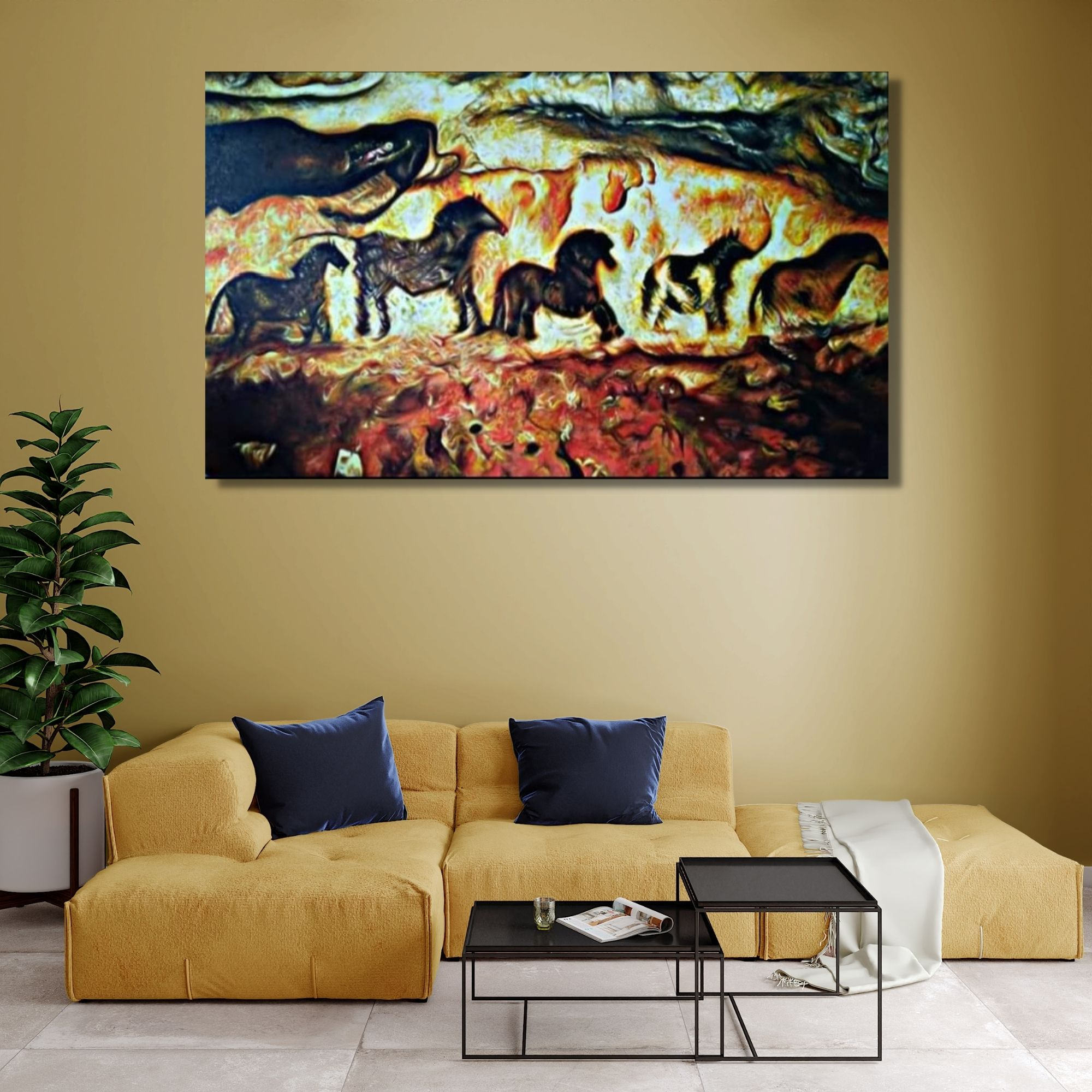 Ancient Cave-Oil on Canvas-36X60 Inch