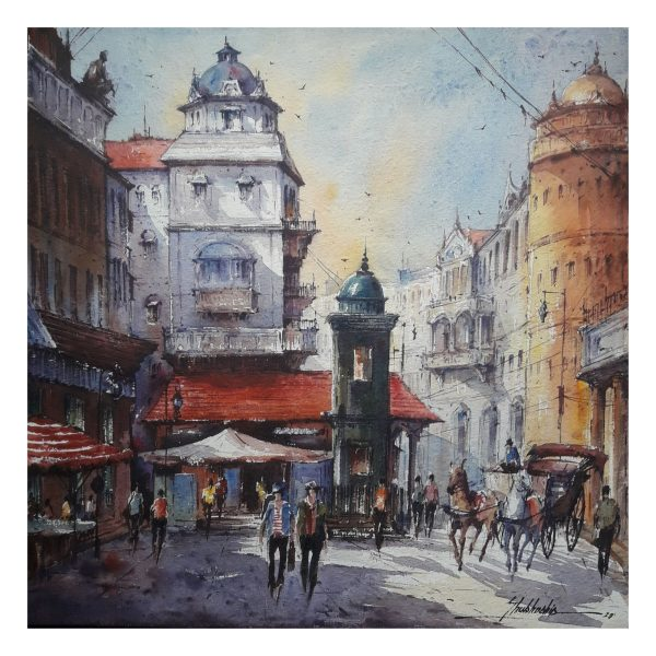 City in Italy-3 - Watercolor on Handmade paper - 15×15 Inch