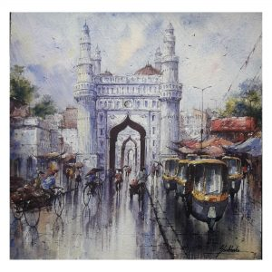 Charminar in Hyderabad - Watercolor on Handmade Paper - 15×15 Inch