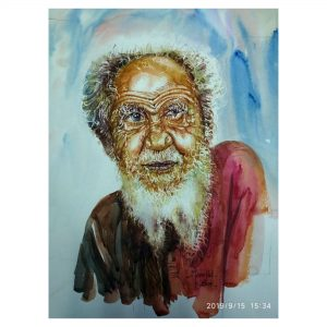 An Old Man - Water colour on Paper-40 X 28 Inch