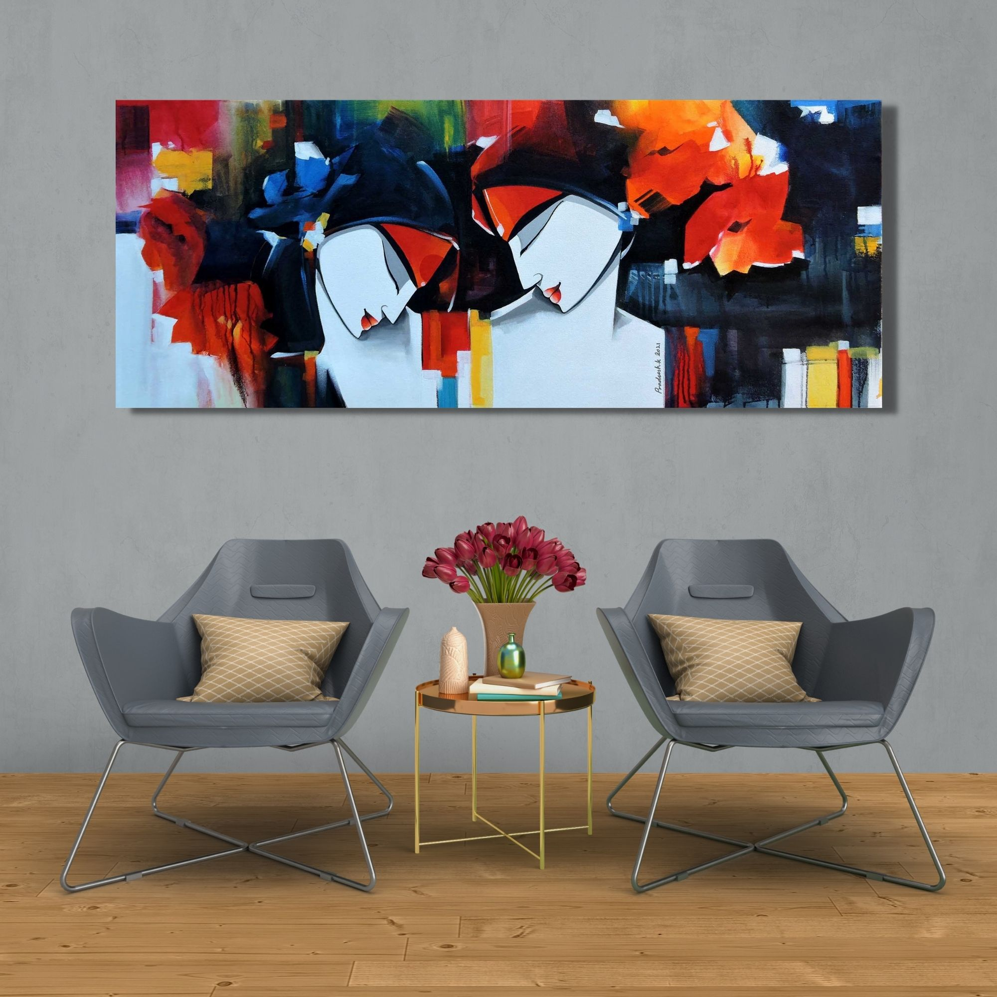 Love in Nature-Acrylic on Canvas-20X48 Inch