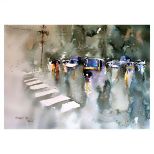 The wet road - Watercolour - 30 X 22 inch