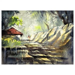 The Shady Stairs - Watercolour - 30 X 22 inch