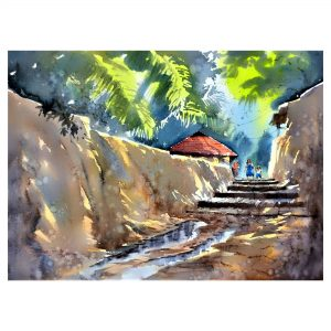 The Shady alley 2 - Watercolour - 30 X 22 inch