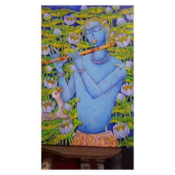 The Blue God in the Lotus Pond-Acrylic on Canvas-24X28 Inch