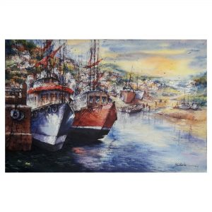 Twin boats - Watercolor on Handmade paper - 22×15 Inch