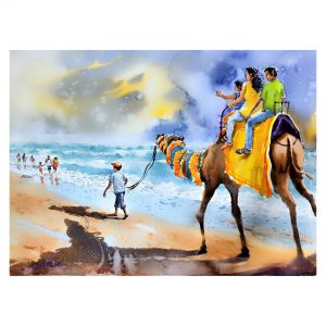 The Prince with his camel - Watercolour - 30 X 22 inch