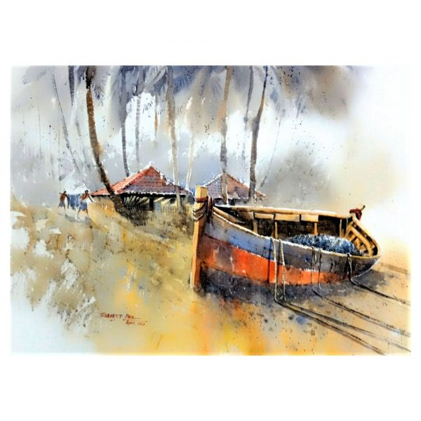 The Lazy boat III - Watercolour - 30 X 22 inch