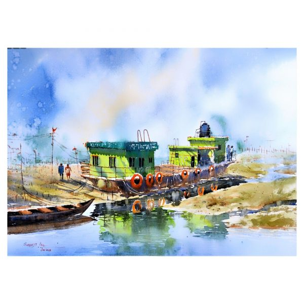 The Green ferry - Watercolour - 30 X 22 inch