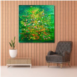 Water Lilies - Acrylic on Canvas - 37x38 (Inch.)