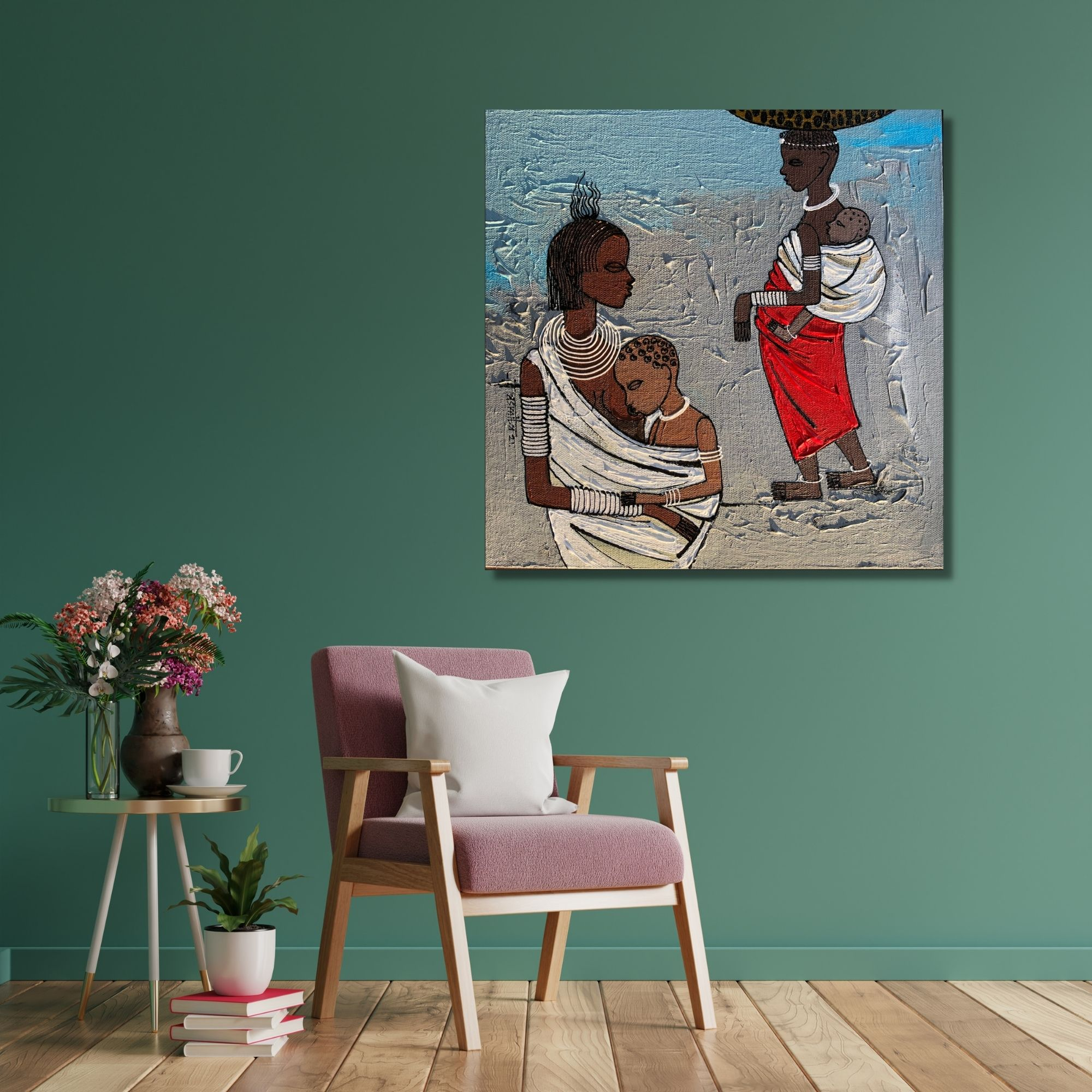 African Lifestyle 3_Acrylic on Canvas_12X12 (Inch)