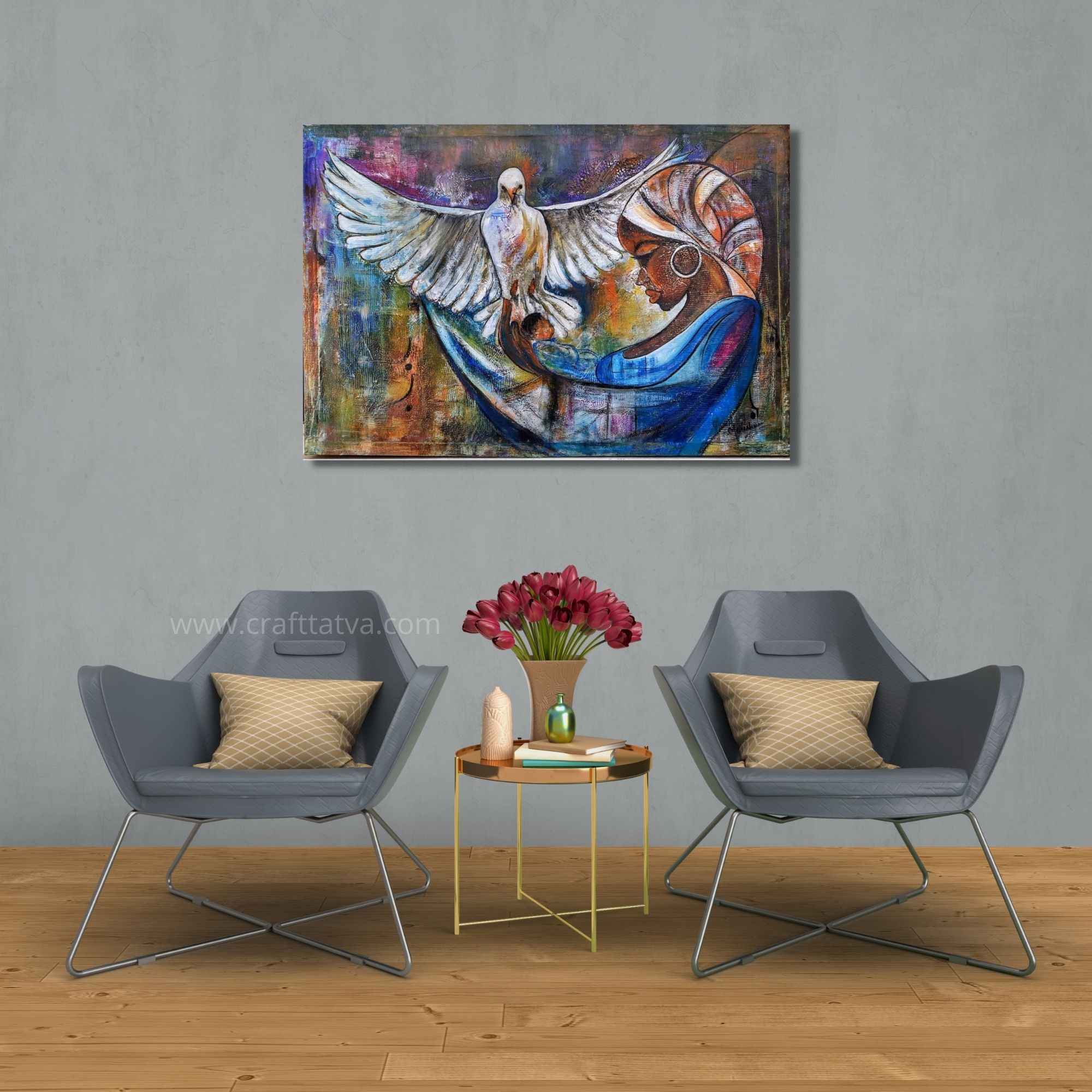 The Mystical love - Mixed media on canvas- 24×36 Inch