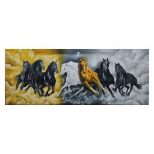 Seven Horses-Oil on Canvas-24X60 Inch