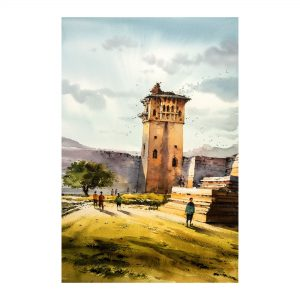 Hampi Watch Tower_Watercolour on Saunders Waterford Paper_15x22 (Inch)