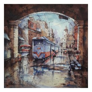 The way of tram-3 - Watercolor on Handmade paper - 15×15 Inch