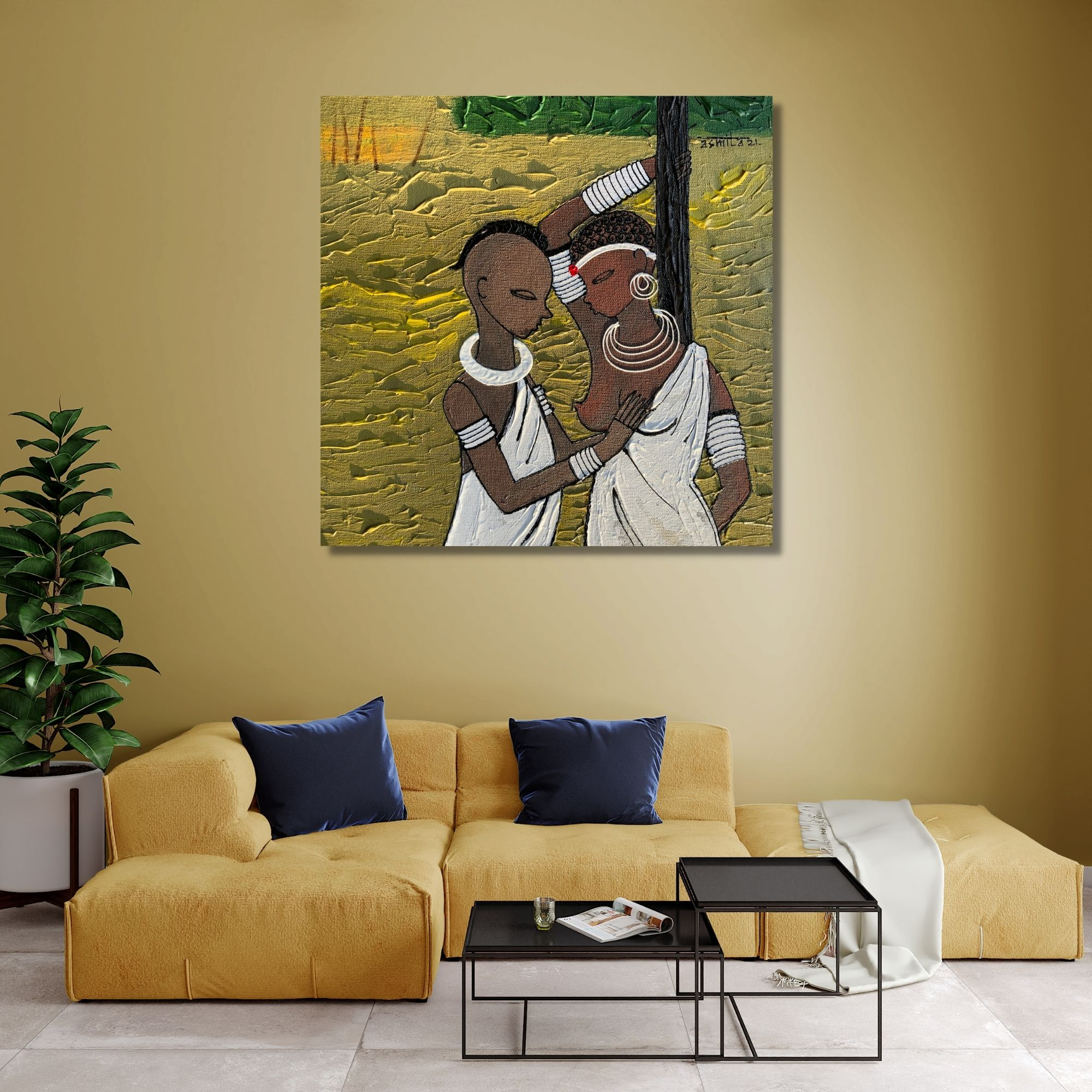 African Lifestyle 1_Acrylic on Canvas_12X12 (Inch)