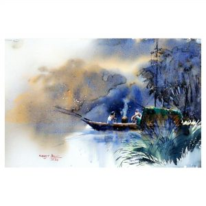 Life on boat 1 - watercolor on paper - 20 x 14 inch