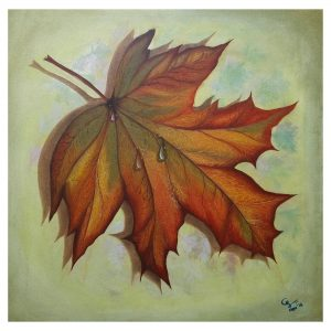 Dew drops on Maple leaf-24x24 Inch_oil on canvas