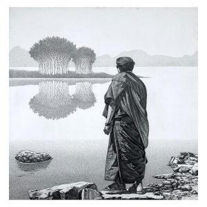 """Monk-20-I - 36""""x36"""" Inch - Pen & Ink on Canvas"""