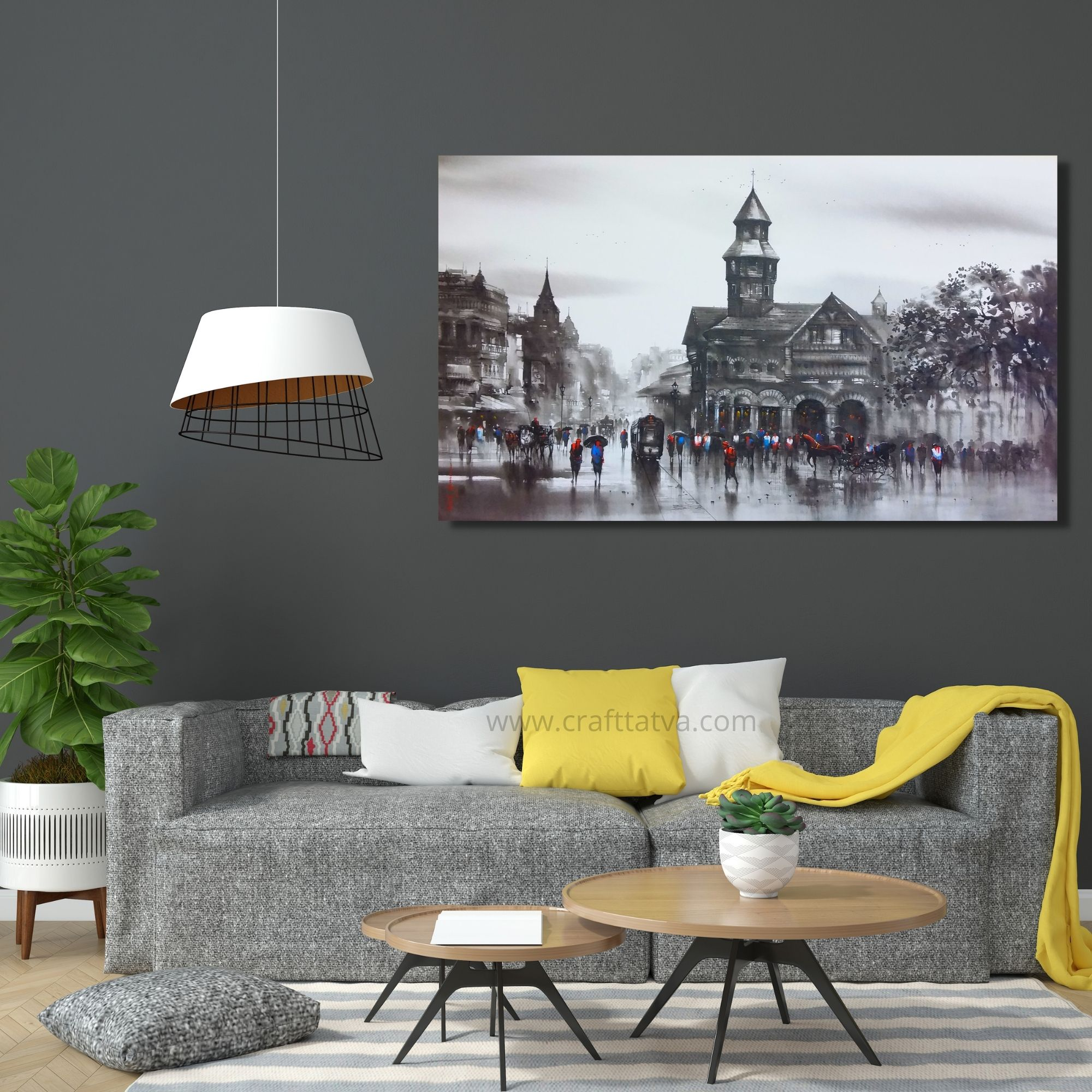 Old Bombay-Acrylic on Canvas-60X36 Inch