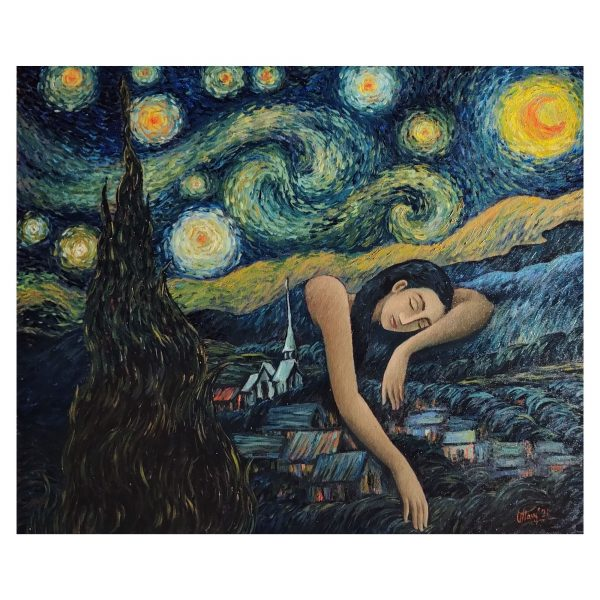 Starry Dream-Acrylic and Oil on Canvas-30x36 Inch