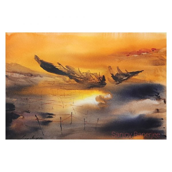 Golden Sunset, Size A4,Water Colour