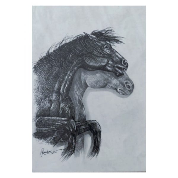 Horse 1-Mix Media on Canson Paper-8.75x11.50 Inch