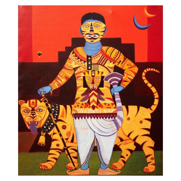 Man With Tiger-Acrylic on Canvas-36x42 Inch