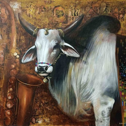 Cow With Saxophone | Acrylic On Canvas by Jiban Biswas | 36×48