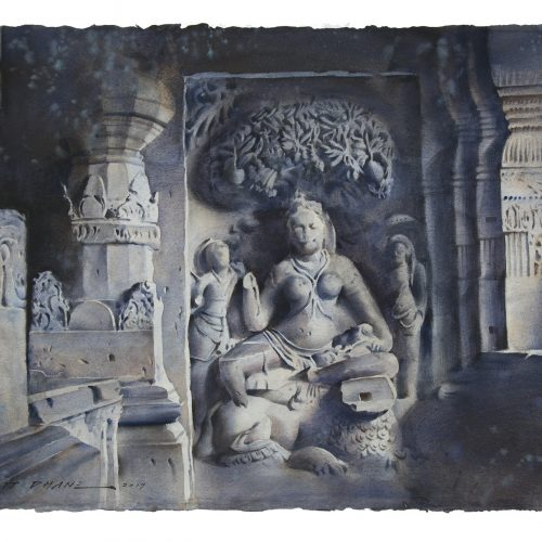 ellora-cave-indra-sabha-watercolor-painting-by-amit-dhane-22x30