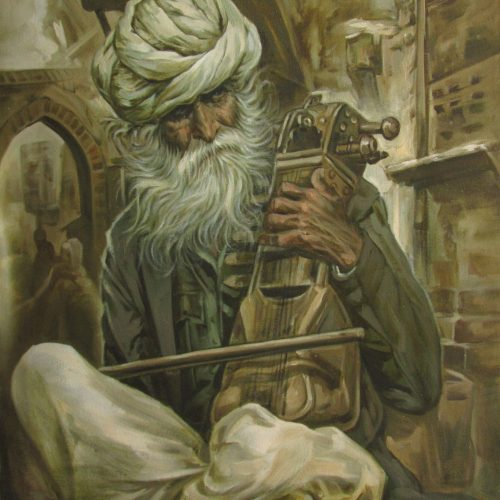 indian-musician-paintings-for-sale-musician-1-oil-on-canvas-painting-by-laxman-kumar-30x40