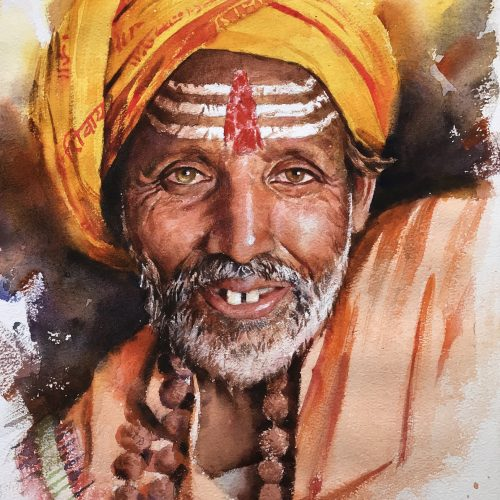 sadhu-1-watercolor-painting-by-amit-dhane-11x14