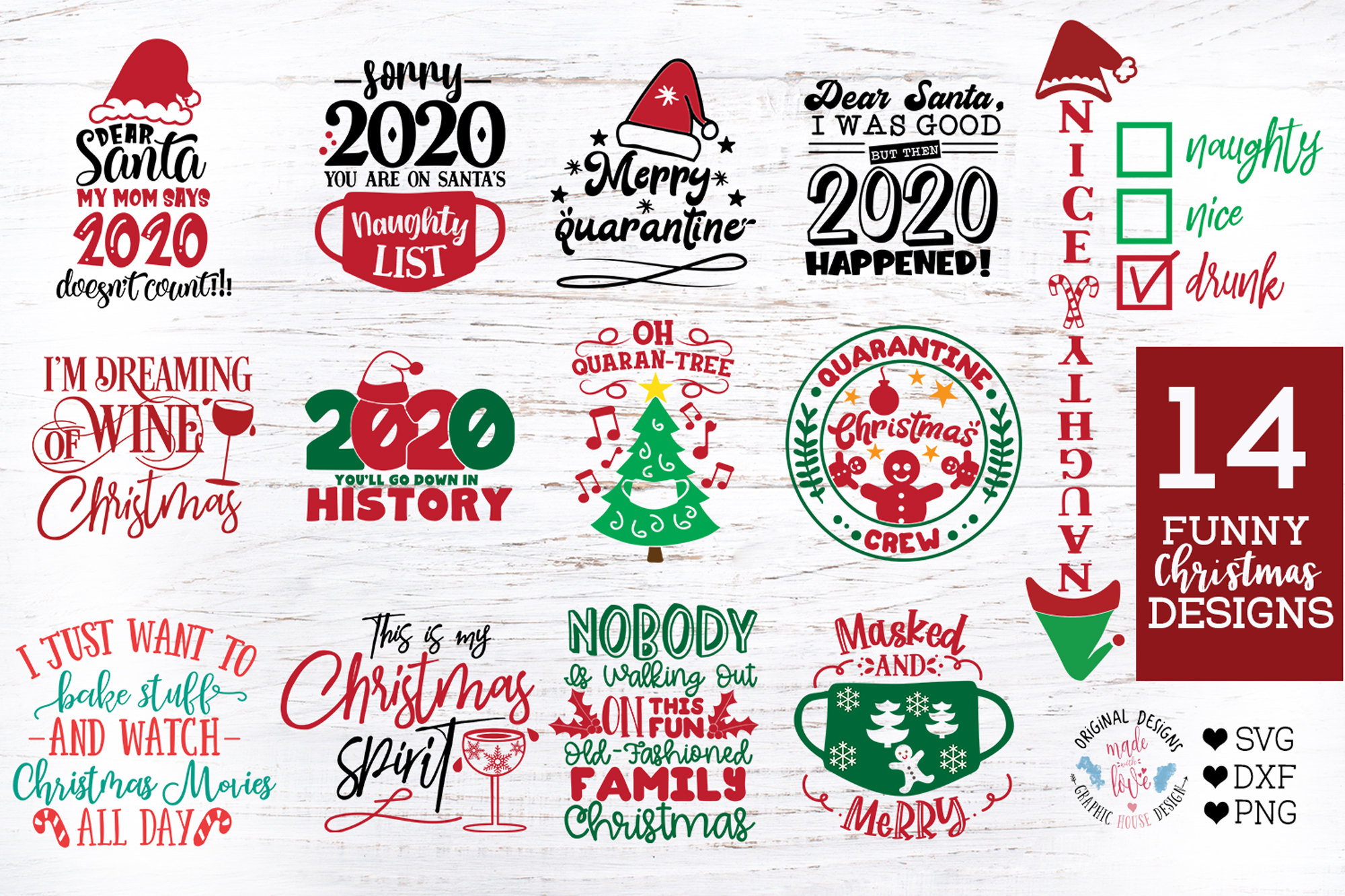 14 Funny Christmas And 2020 Quotes In Sv Graphic By Graphichousedesign Creative Fabrica