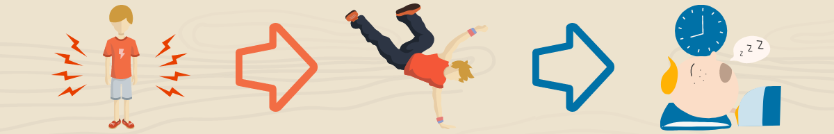 Child with excess energy after dancing will sleep well