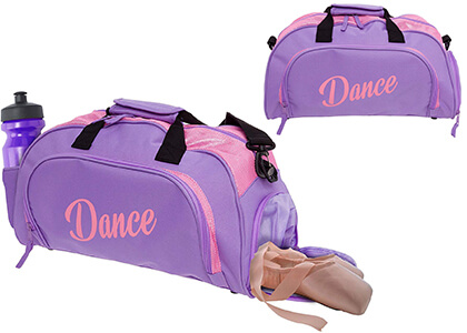 purple dance bag with separate shoe compartment