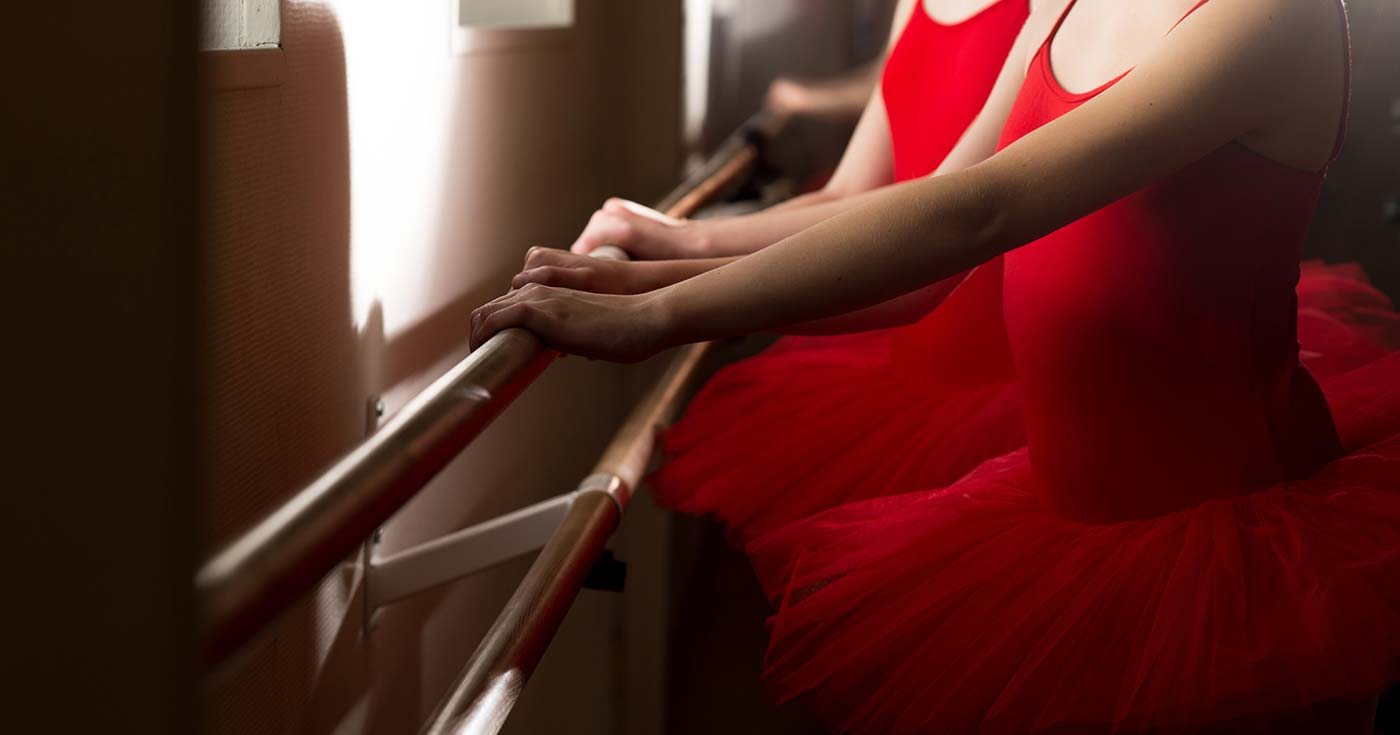 Picture of young ballerina exercising