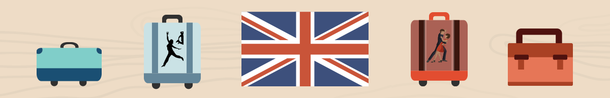 Image of 4 bags and a UK flag