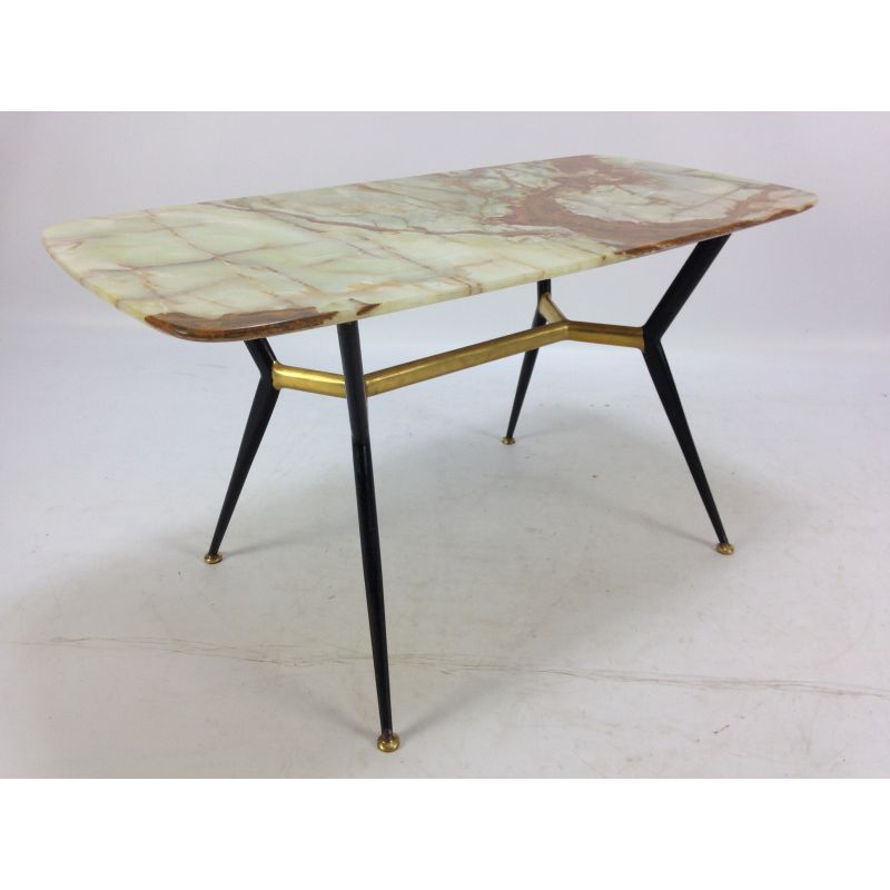 Vintage Coffee Table With Marble Top And Brass Feet 1950s Design