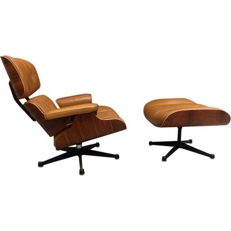 Charles And Ray Eames Lounge Vintage Chair And Ottoman In Cognac