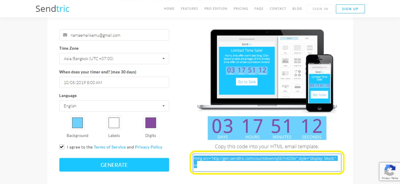 sendtric countdown email