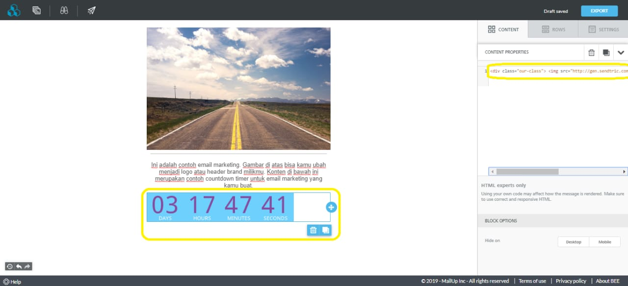 countdown timer email beefree