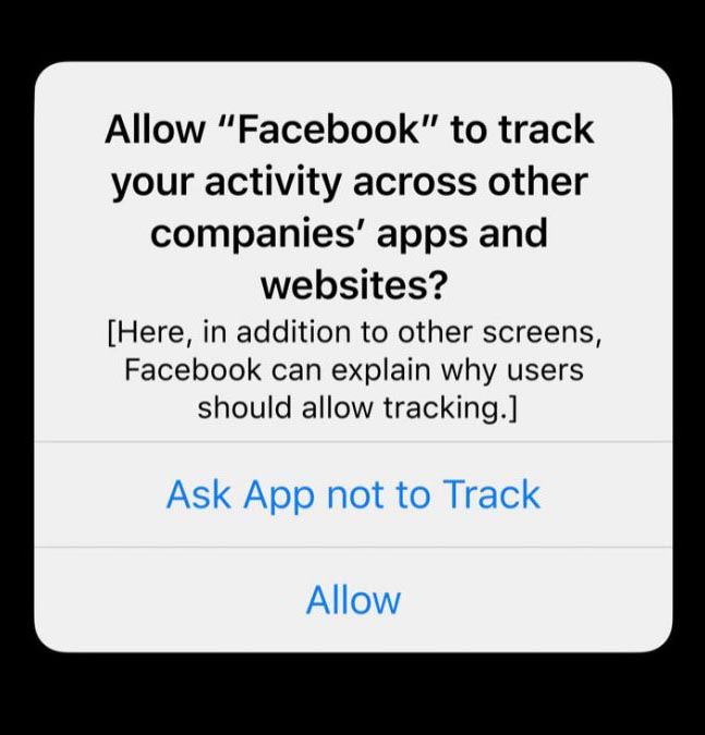IDFA example prompt for Facebook on Apple IOS