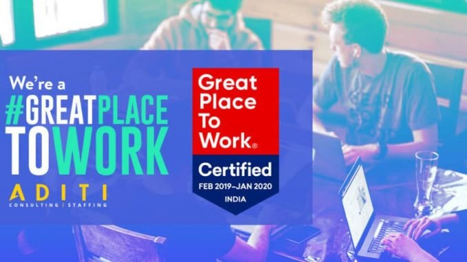Aditi Named One of the Best Workplaces in 2019 by Great Place to Work