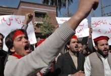 Pashtuns protest at UN headquarters against rights violations in Pakistan