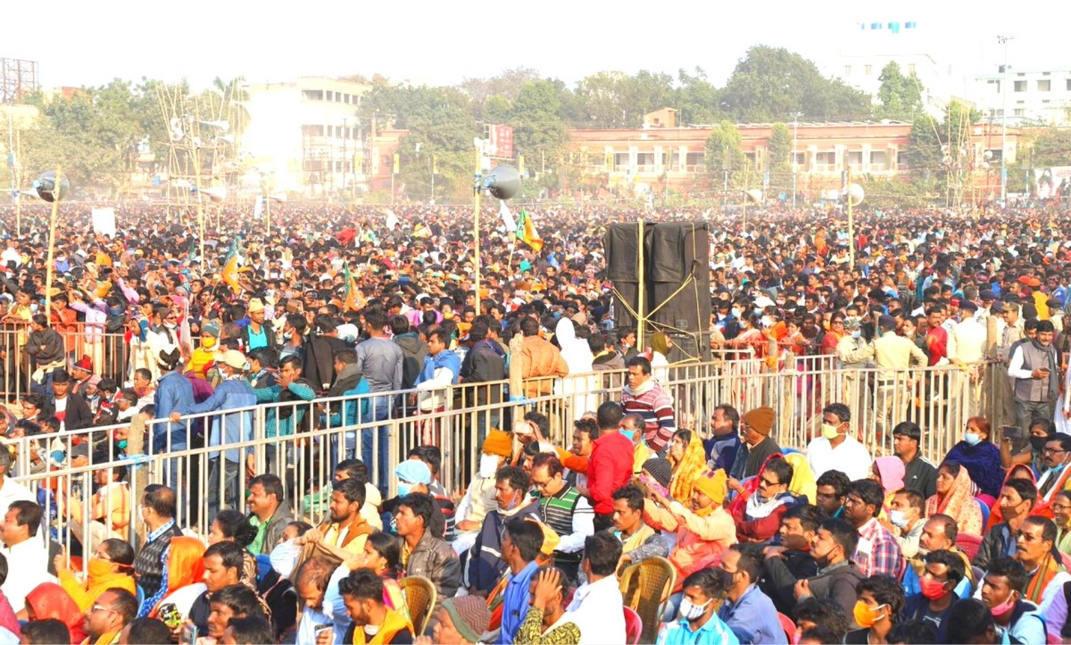 Crowd gathered in a election rally in west bengal