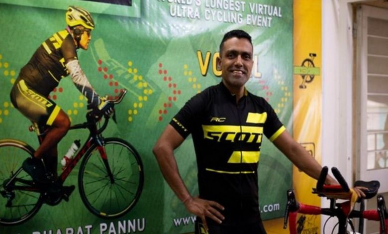 Lt Col Bharat Pannu breaks two Guinness World Records for fastest solo cycling