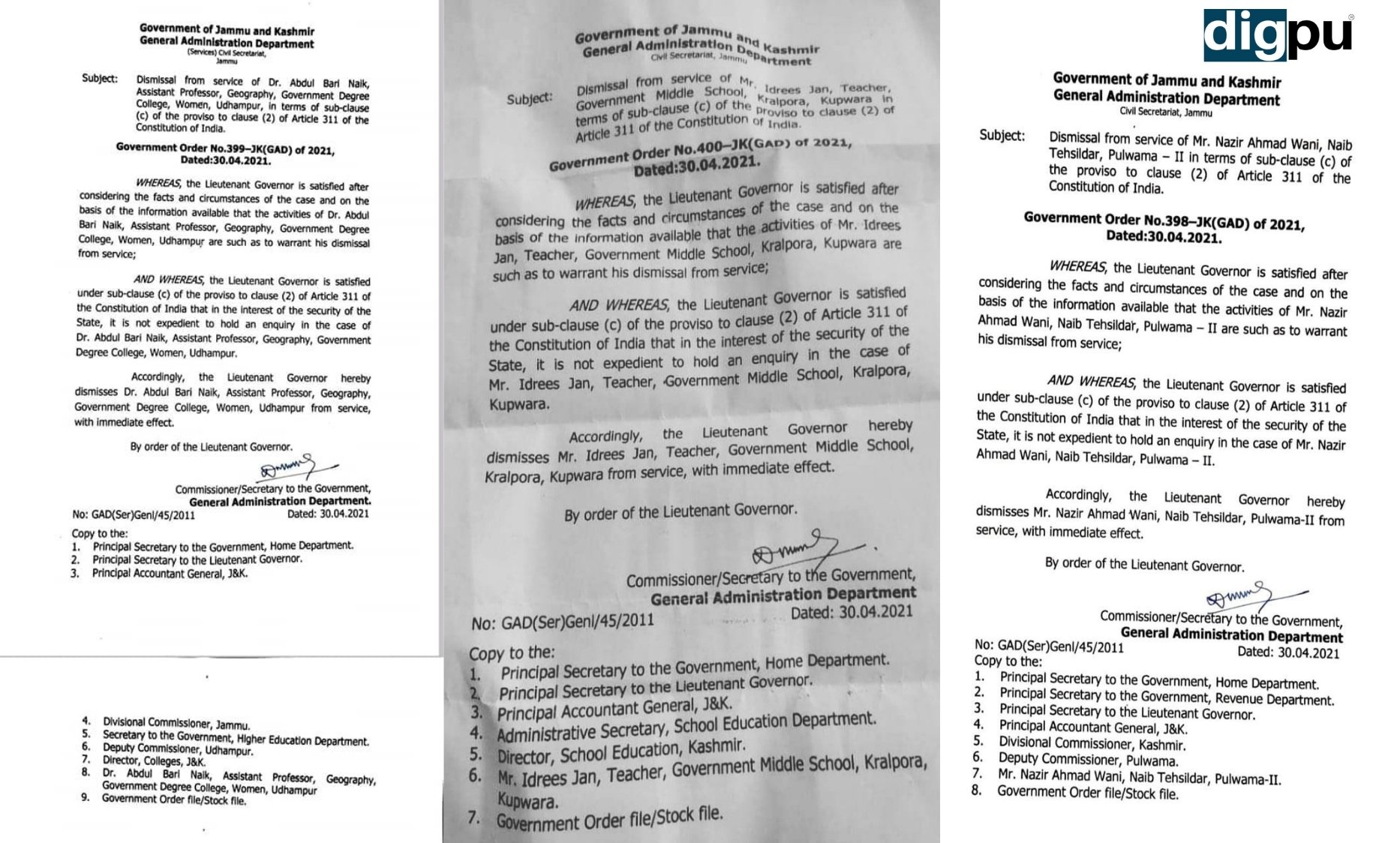 Invoking Article 311, three government employees dismissed in J&K - Digpu News