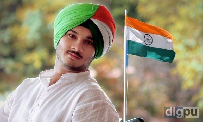 A young man wearing tricolour turban